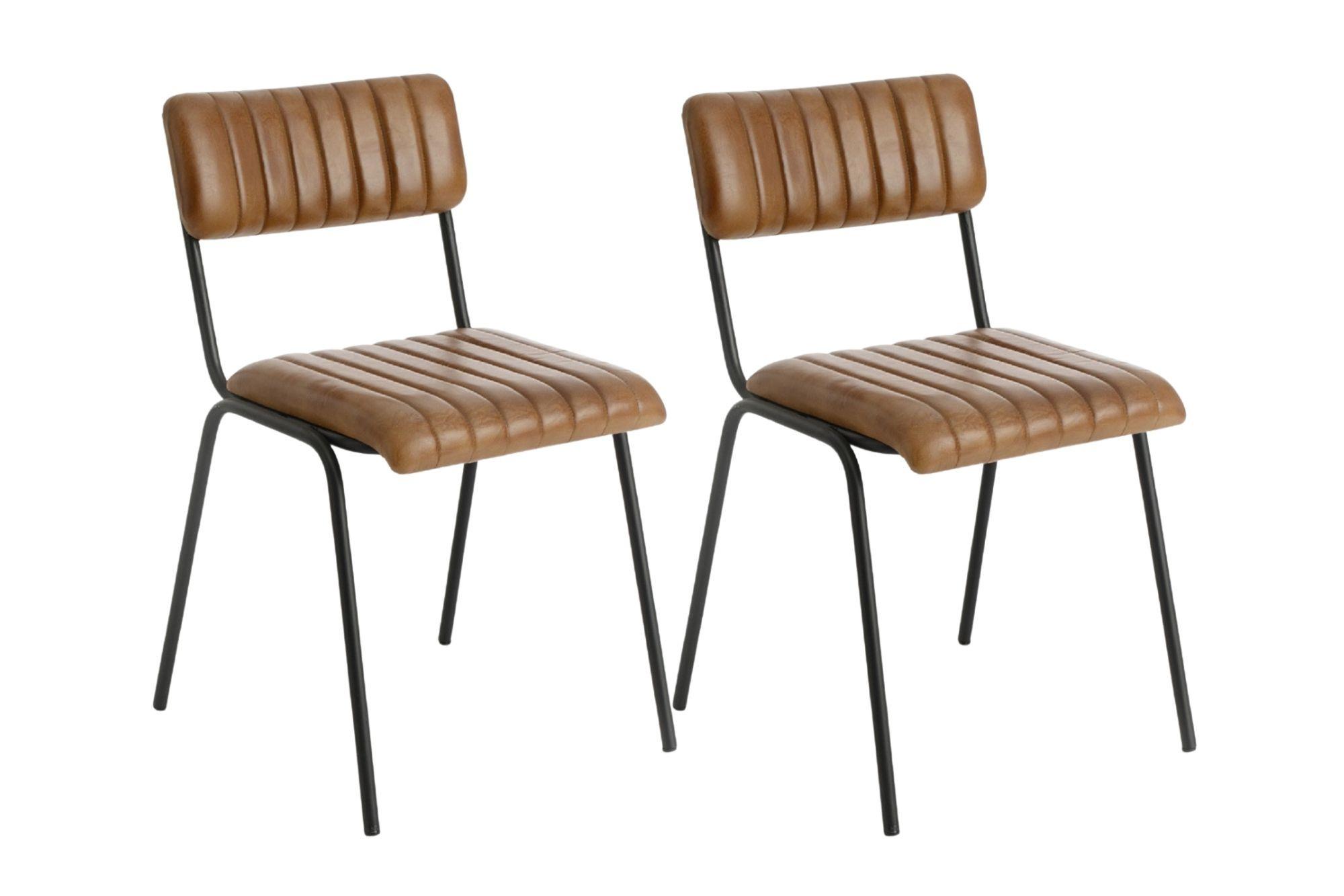 lot de deux chaises vintage cuir camel
