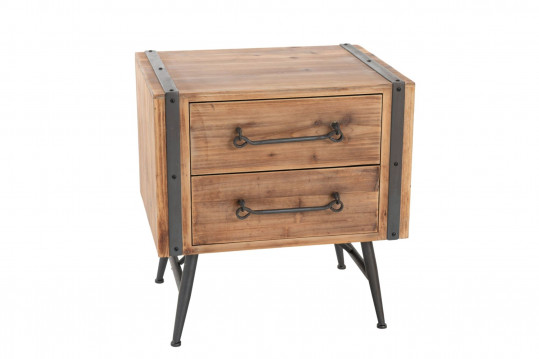 Table de nuit en bois et métal 2 tiroirs - NESTOR
