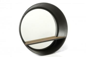 miroir rond industriel en bois et métal avec tablette