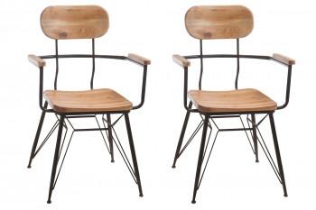 lot de deux chaises avec accoudoirs de style industriel en bois et métal
