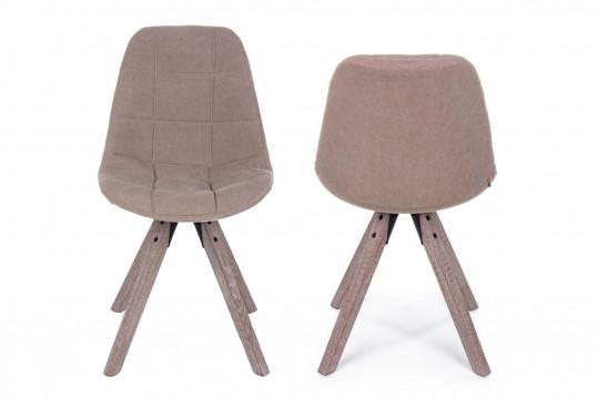 Chaise en tissu et pieds bois - FEROE (Lot de 2)