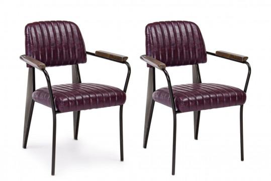 lot de 2 chaises en simili vintage bordeaux