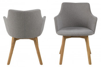 Chaises en tissu et pieds chêne (Lot de 2) - BELLA