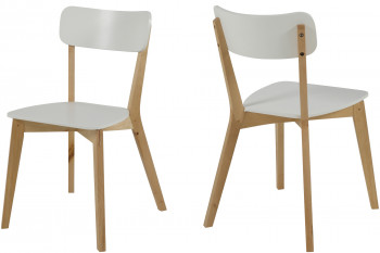 Chaises moderne laquée blanc - Luza (Lot de 2)