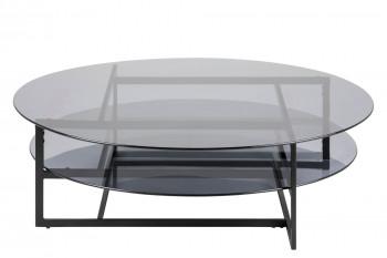 Table basse ronde en verre et métal noir