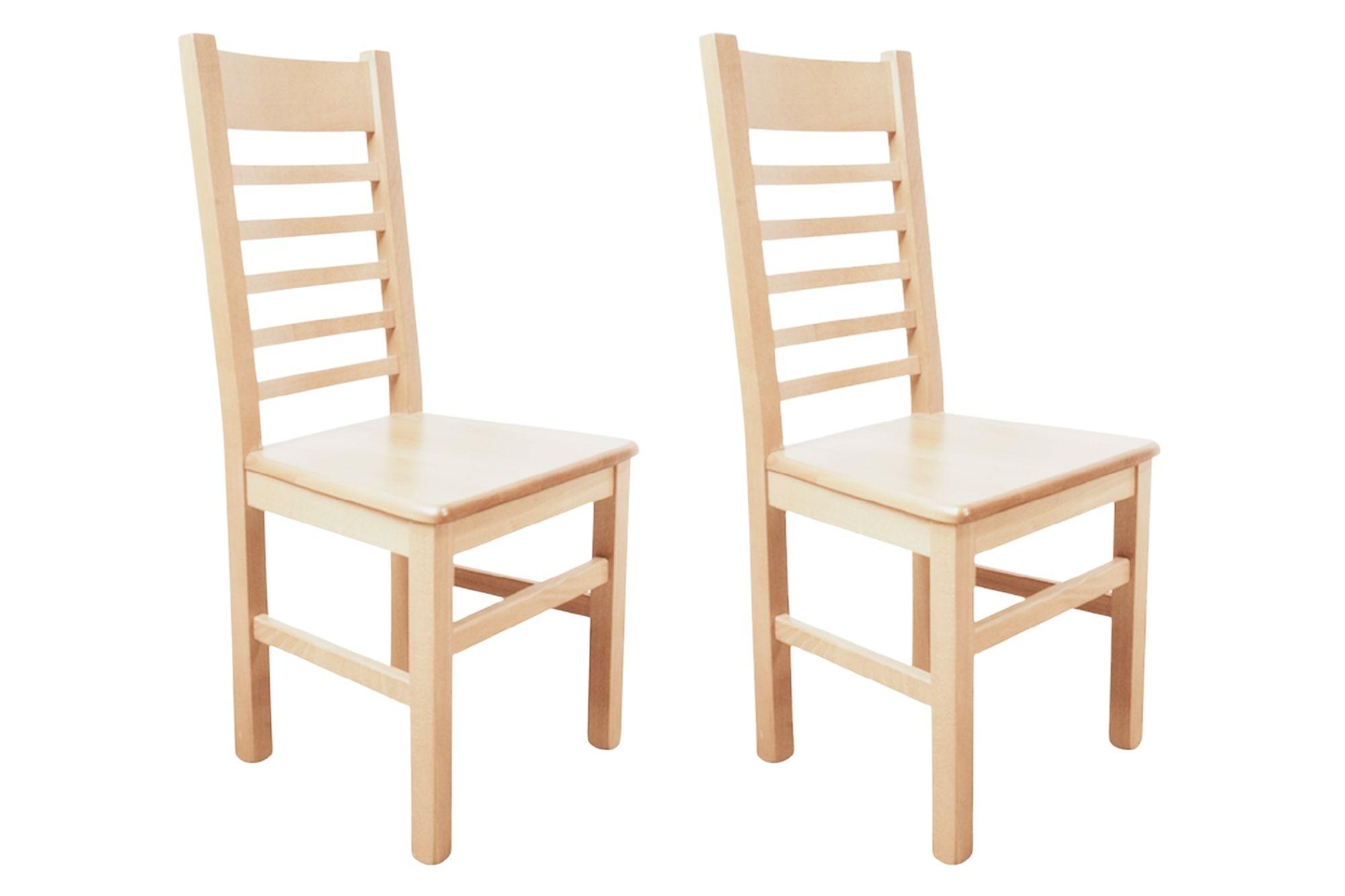 lot de 2 chaises en bois massif chêne naturel blanchi