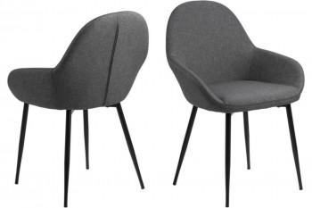 Lot de 2 chaises de salle à manger en tissu gris