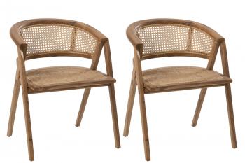 Lot de deux chaises en teck et rotin