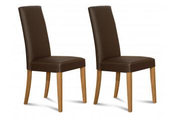 RECONDITIONNE - Chaises en cuir et chêne - NANCY (Lot de 2)