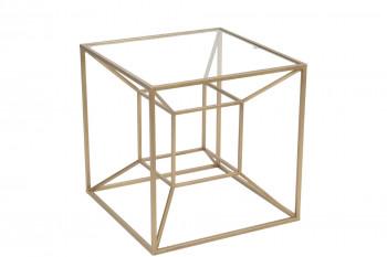 Bout de canapé en verre et métal doré design