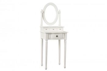 Coiffeuse baroque blanc avec miroir et quatre tiroirs