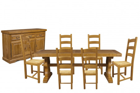 Salle à manger en bois massif : buffet, table et 6 chaises rustiques en chêne