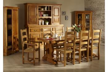 Table monastère + 6 chaises + bahut 3 portes LA BRESSE - bois chêne massif