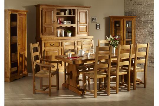 Ensemble table monastère + 6 chaises + bahut 3 portes LA BRESSE - bois chêne massif