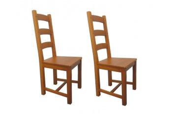 Chaises en chêne moyen La BRESSE - Assise bois (Lot de 2)
