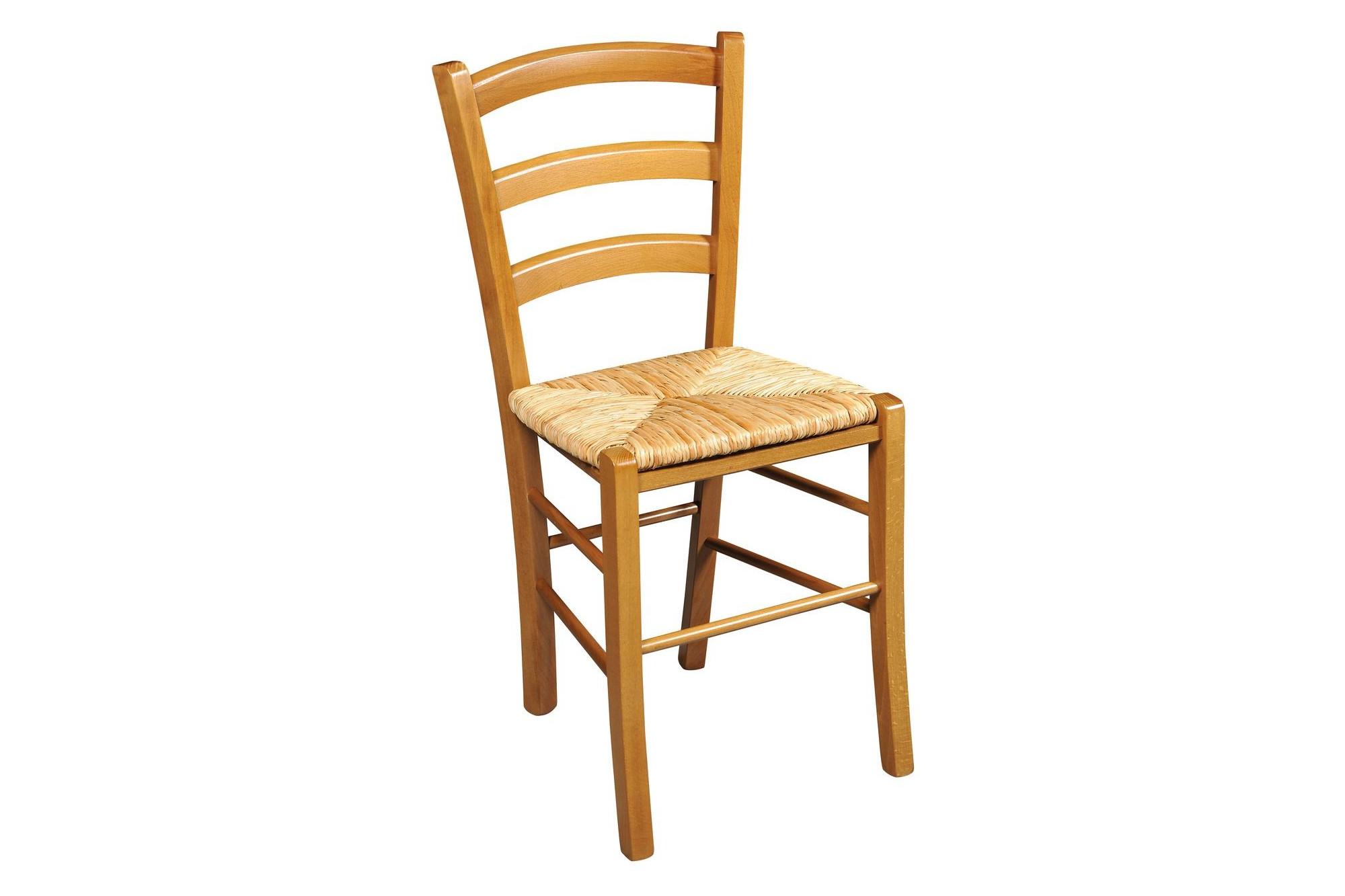 Chaise en bois rustique et claire assise paille hellin - Chaise bois flotte ...