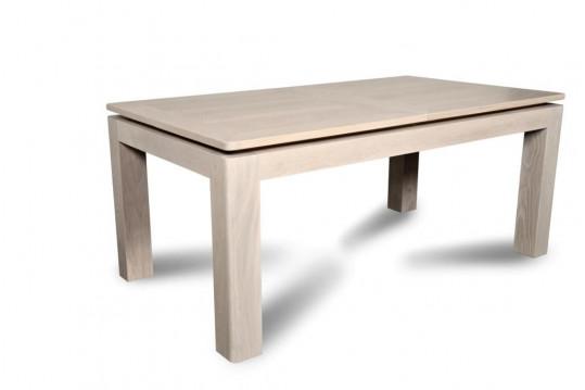 Table à manger extensible moderne  ATLANTIQUE - bois chêne blanchi massif