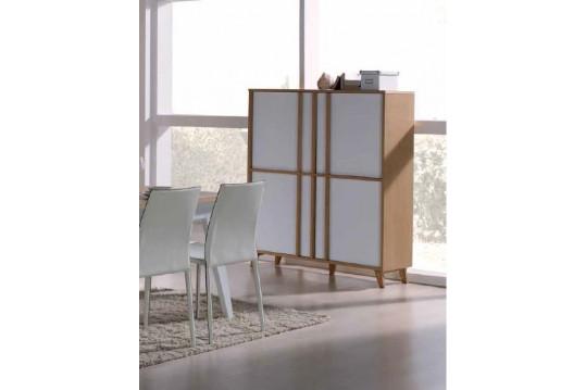 Armoirette 4 portes moderne MONDRIAN - Coloris Blanc-ivoire