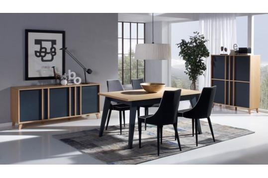 Table extensible moderne  MONDRIAN - coloris gris/bleu