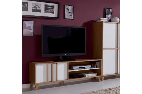 Meuble TV bas moderne MONDRIAN -Coloris Blanc-Ivoire