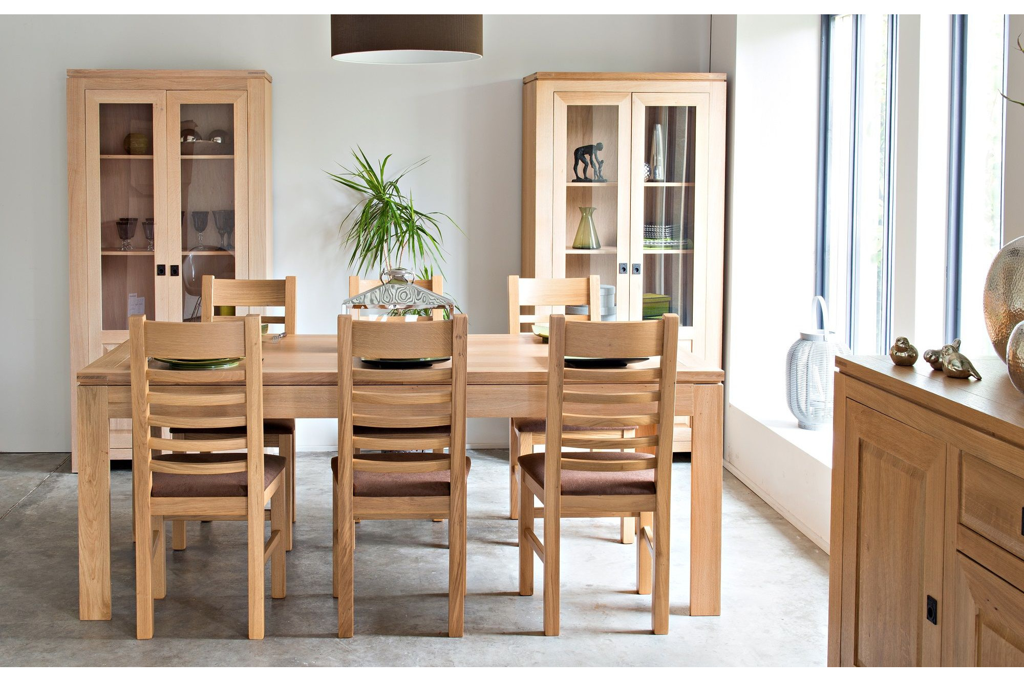 table moderne avec allonges centrales en ch ne clair boston hellin. Black Bedroom Furniture Sets. Home Design Ideas