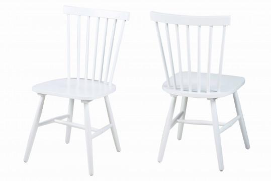 Lot de 2 chaises bois hévéa TOLEDO - coloris blanc