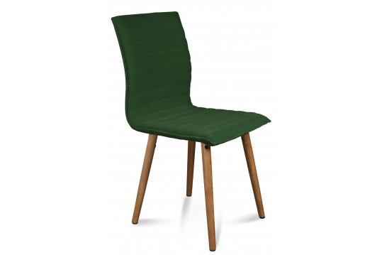 Lot de 2 chaises tissu et bois - Chêne Göver - Vert