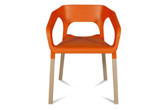 Lot de 2 chaises bois moderne KRAFT - Coloris orange