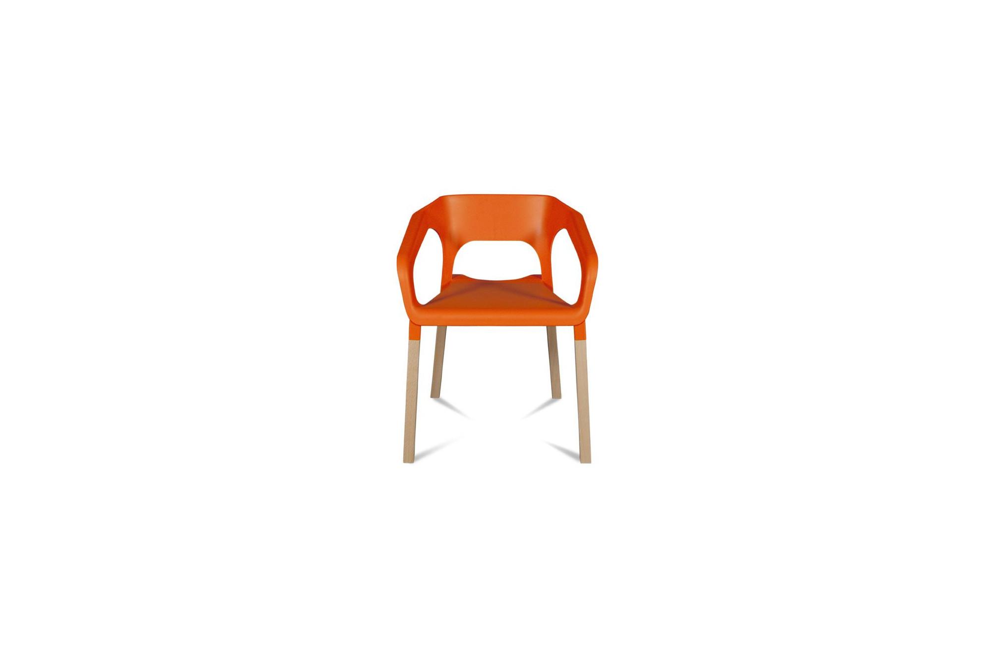 Lot 2 Chaises Bois Et Plastique Orange Design Kraft