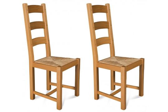 Lot de 2 chaises en chêne clair La BRESSE - Assise paille