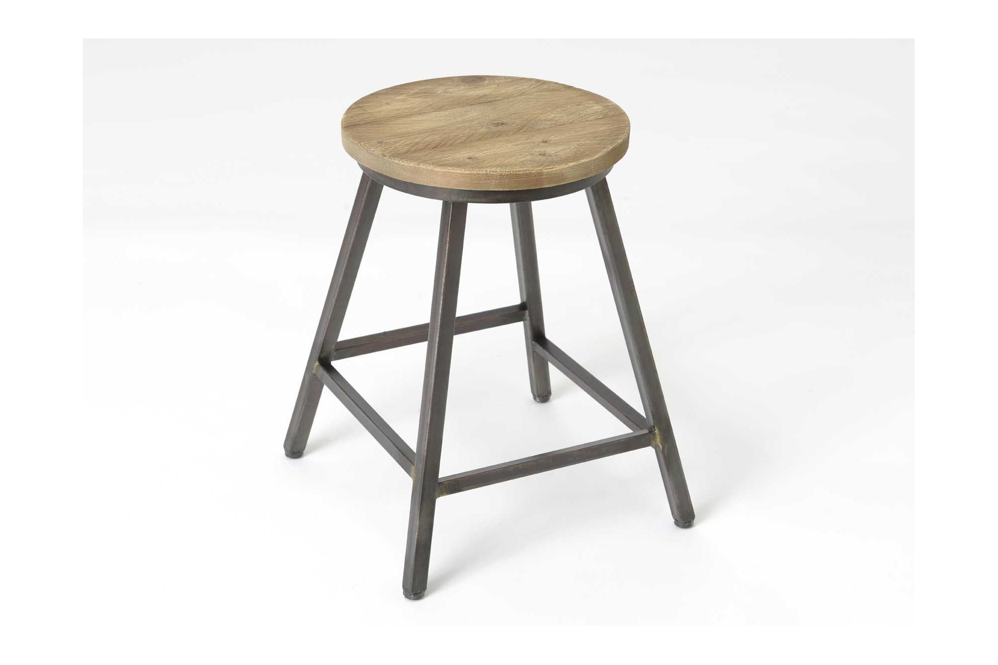 tabouret metal bois style atelier hellin. Black Bedroom Furniture Sets. Home Design Ideas