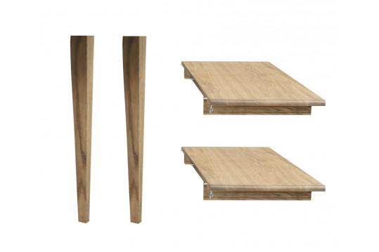 Lot de 2 rallonges bois -105 cm - pieds fuseau - table ronde VICTORIA