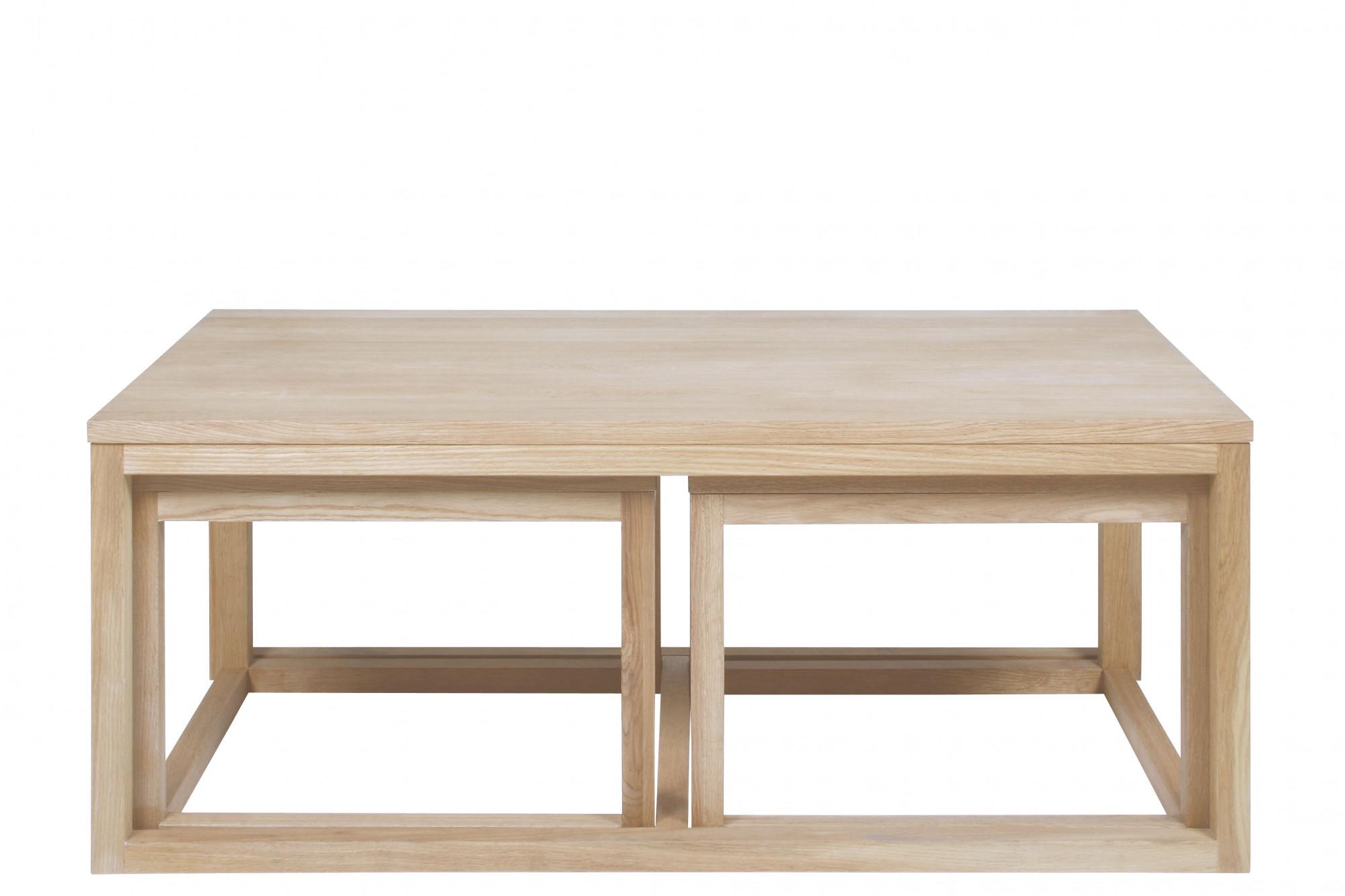 Table Basse Chene Blanchi Lot De Trois Hellin