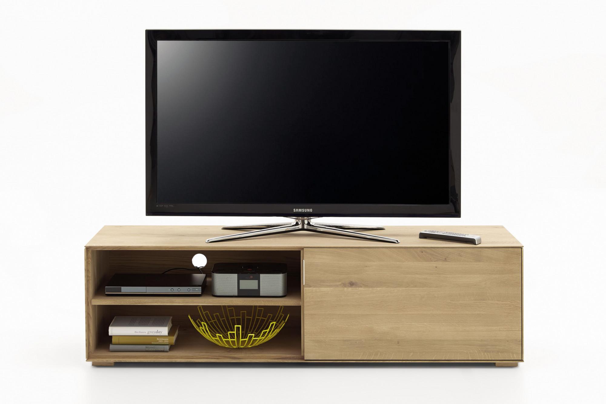Meuble Tv Chene Massif Avec Espaces De Rangement Hellin