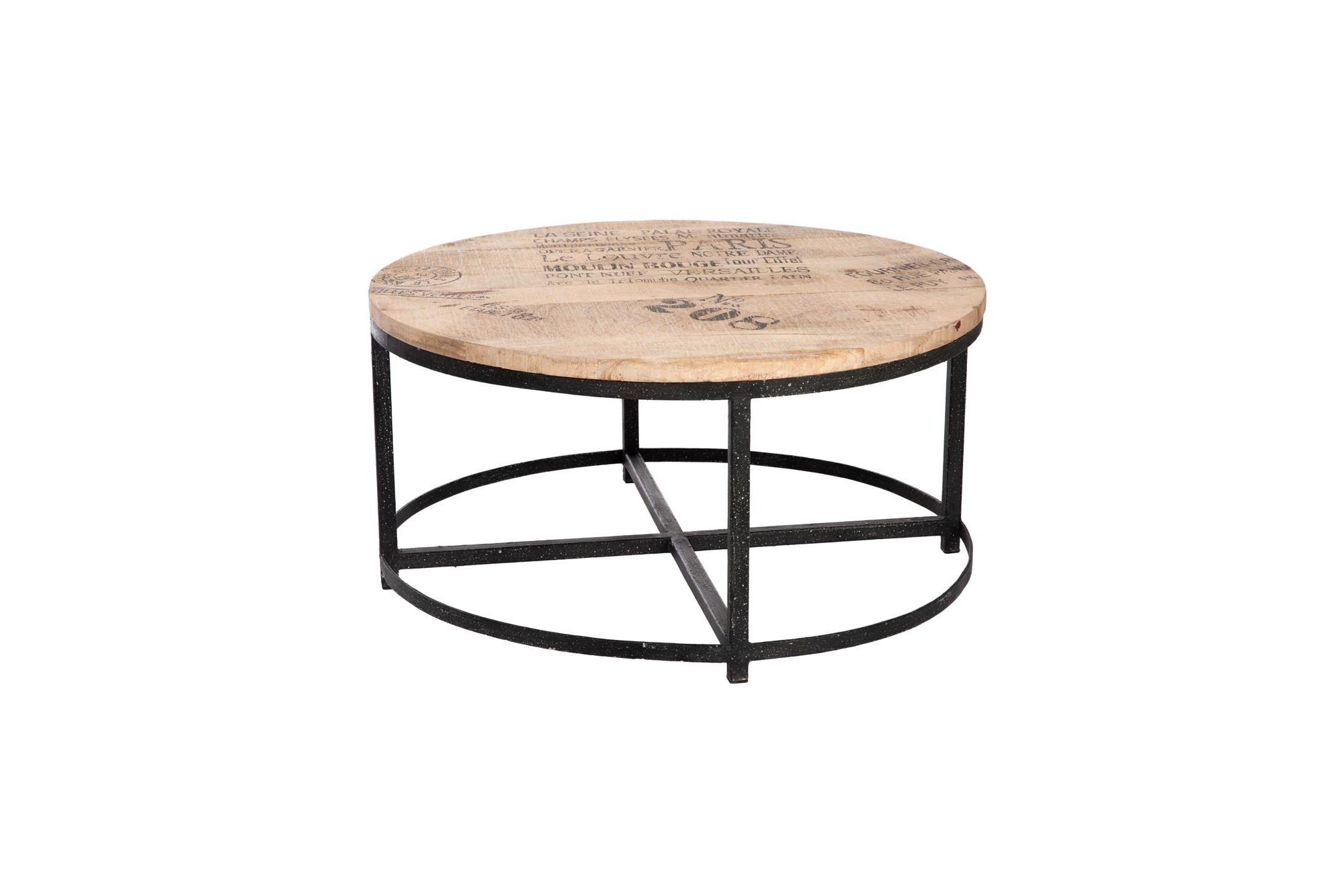 Table Basse Ronde Bois Metal Hellin