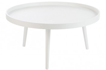 TABLE BASSE RONDE BOIS BLANC