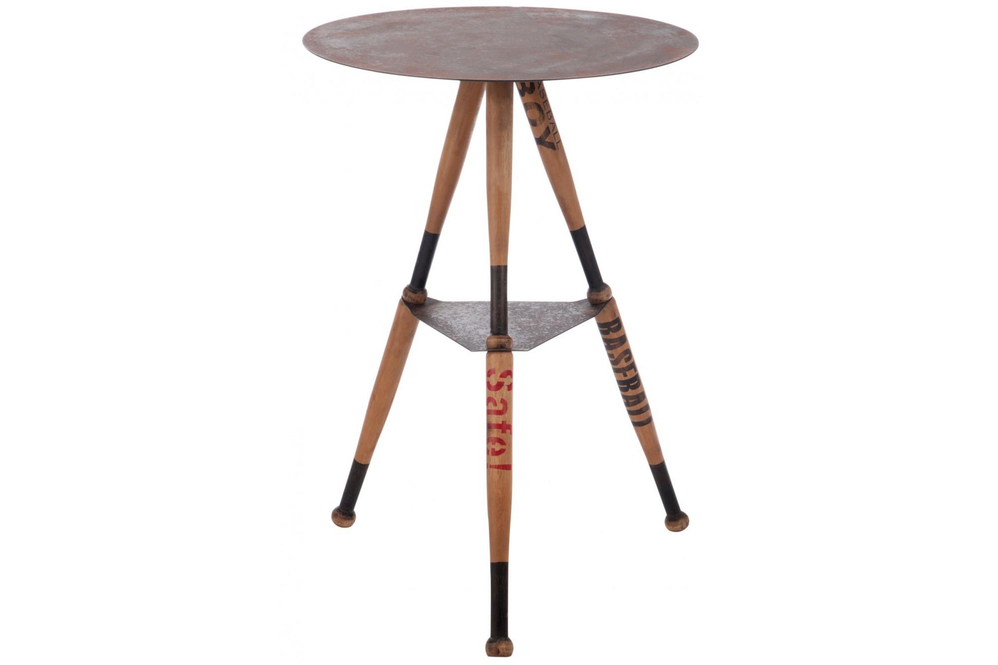 Table Haute Ronde table haute ronde bois et métal baseball - hellin