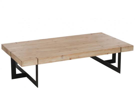 TABLE BASSE RECTANGULAIRE MODERNE BOIS/METAL NOIR