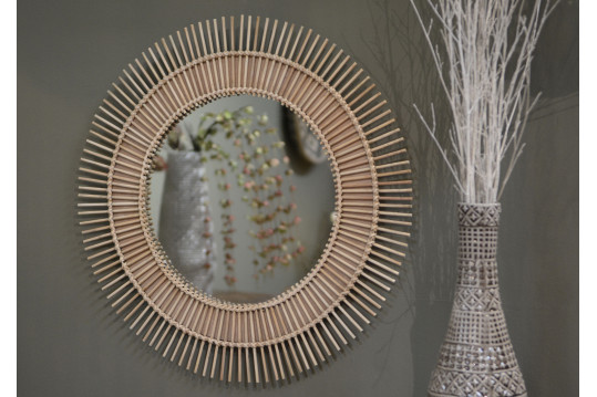 Miroir rond Tige bois naturel