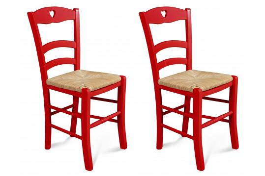 Occasion - Lot de 2 chaises colorées en hêtre Silva - rouge