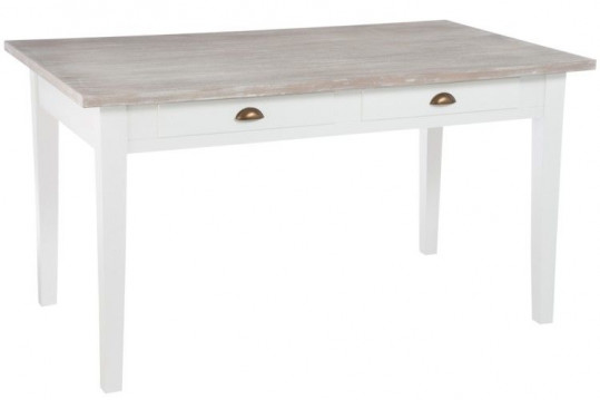 TABLE RECTANGULAIRE BLANCHE 2 TIROIRS