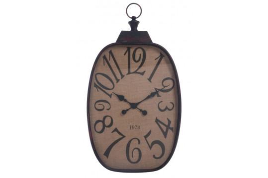 Horloge industrielle métal noir et jute